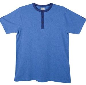 Blue La Mode Men's Soft Henley T-Shirt